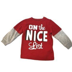 3/$25 Carters Christmas shirt On The Nice List 18M